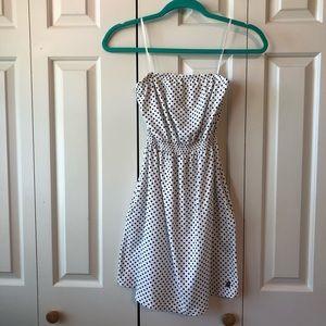 Volcom White Strapless Dress w/Black Polka Dots